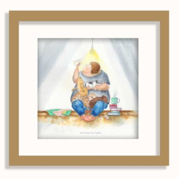 Real Friends Read Together is a beautifully moving watercolour painting by artist Amanda Reynolds. The painting depicts a rotund character who peers at their reading book under the dim light of one lit bulb as a collection of different breed puppies sits and balances upon their knee and in the crutch of their arm. The puppies are a golden Labrador, chocolate Labrador puppy and two bulldog puppies. Also a black and white scruffy terrier puppy. A hot cup of steaming tea rests on a pile of books to the side, waiting for a drinker. An empty dogs bed sits the other side of the reader awaiting it's cute and furry puppy occupants. A small mouse can be seen resting on the arm unseen. The painting is framed in this image in a simple oak brown frame with a white mount.