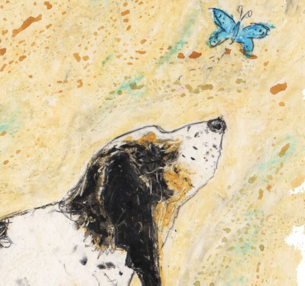 This an oil pastel painting with a wash of iwatercolours and depicts a tri coloured basset hound looking up at a little blue butterfly as it flys above the Basset Hounds head. This is a side profile of the Basset Hound walking. The background colour is a soft cream with viridian blues smudge into the background. The dog is the colour black, tan and white.
