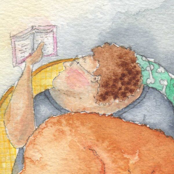 Real Friends Read Together is a beautifully moving watercolour painting by artist Amanda Reynolds. The painting depicts a rotund character who peers at their reading book under the a soft evening lamp light as her Fox Red Labrador sleeps soundly on her lap. The large breed dog takes up her full lap as she peers above their large body to read her book. On the side table of the armchair is a lamp and a hot cup of steaming tea in a polka dot tea cup and saucer. The Labradors tennis ball is on the ground near a mouse hole in the skirting, where a shy little mouse peeps from.