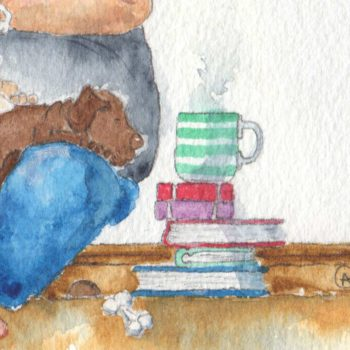 Real Friends Read Together is a beautifully moving watercolour painting by artist Amanda Reynolds. The painting depicts a rotund character who peers at their reading book under the dim light of one lit bulb as a collection of different breed puppies sits and balances upon their knee and in the crutch of their arm. The puppies are a golden Labrador, chocolate Labrador puppy and two bulldog puppies. Also a black and white scruffy terrier puppy. A hot cup of steaming tea rests on a pile of books to the side, waiting for a drinker. An empty dogs bed sits the other side of the reader awaiting it's cute and furry puppy occupants. A small mouse can be seen resting on the arm unseen.
