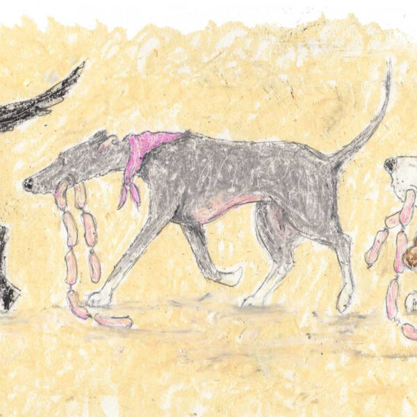Real Friends Shop Together depicts a line of different breed dogs carrying sausages as they come home from shopping together. A scruffy terrier, black Labrador, grey greyhound and basset hound