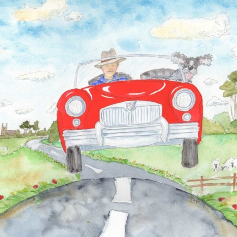 This is a funny, fantastic commission to include her husband, his amazing MG Roadster red sports car, and their cocker spaniel dog. The driver is zooming down a country lane and bouncing over a hill. The dogs ears are flailing about as his face is very happy. Their are sheep in the field and background and a little Norman church on the horizon.
