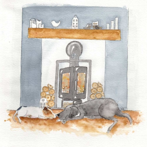 This is a watercolour commission painted of my customers Jack Russell Terrier Pudding and rescue dog Labrador cross, Zeta. They are both asleep in front of the customers wood burner. A Yorkshire rose is o the wood burning stove and all the customers ornaments sit on the fireplace. This was commissioned as a Fathers Day gift.