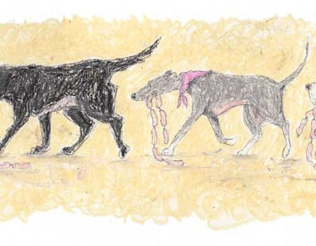 Real Friends Shop Together by Amanda Reynolds was originally created in oil pastels on board. The print is of a cute line of dogs each carrying a length of sausages as they have successfully being shopping together. At the front of the line is a tan and white scruffy terrier, followed by a really chuffed black Labrador. Then a grey whippet trots behind the Labrador and finally a white and tan Basset Hound. This comical little print is a fun picture for any dog lovers home.