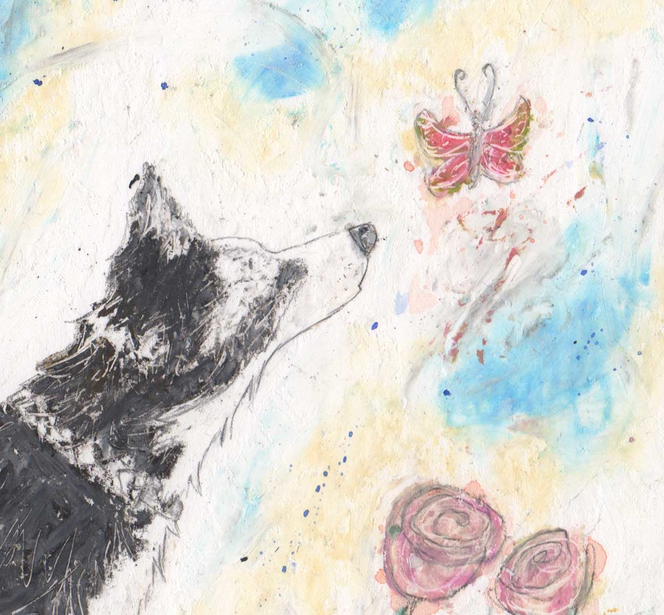 This is a beautiful piece of art of a Collie dog created by artist Amanda Reynolds in oil pastels. The Collie dog is viewed in a side profile and is black and white. The Collie dog looks inquisitively at a little pink butterfly which flies over some pink roses and his dog toy sits at his feet. The dog toy is a ball on a rope. .