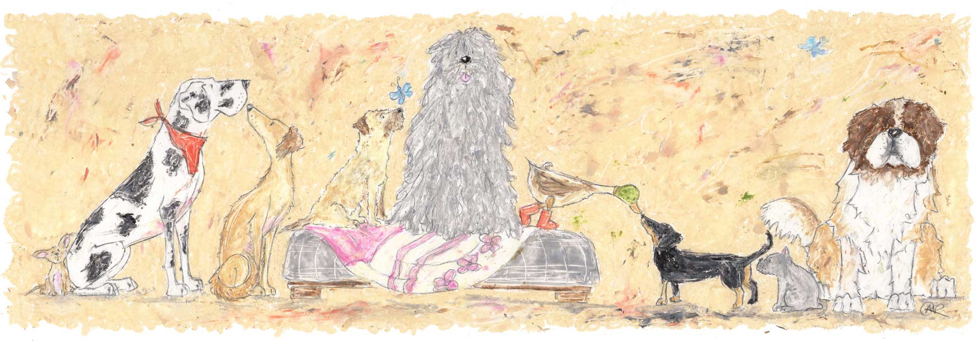 Real Friends Come In All Shapes & Sizes By Amanda Reynolds Art includes a Chihuahua, Black and white Great Dane, beautiful Saluki, sweet Border Terrier, large grey Komondor, a mallard duck and a black and tan dachshund, a small grey Frenchie and a large St Bernard. The variety of dogs sit together in a long line and are all friends.