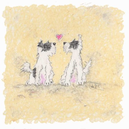 This is an oil pastel dog print of two beautiful long haired and scruffy terriers. They are black and white with a black eye patch. The two terriers are looking at each other and there is a red heart inbetween them. They love each other and look great in this limited edition dog print by artist Amanda Reynolds