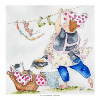 Real Friends Whatever The Weather is a watercolour print of a characterful, rotund lady who loves dogs. As the wind blows the dogs ears around she tries to hang the washing out. Mavis hangs out the dog toys and her polka dot bloomers. The dogs sit in the wicker washing basket and the tiny mouse is in her apron. She wears an apron with cherries on and blue jeans and grey tshirt. A peg is in her mouth as she fights against the blowing wind.