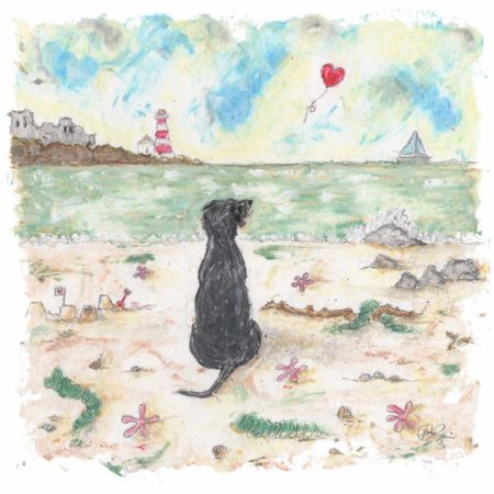 This a beautifully sentimental limited edition dog print by artist Amanda Reynolds. A gorgeous black Labrador sits solitary on a beach looking out to the horizon where a red heart balloon floats away into the distance. Titled Real Friends Hold Our Hearts Forever this painting is a gentle nod to mans best friend who has passed away and is a dog missed everyday. There is a castle and lighthouse in the distance and a small sailing boat on the sea. The beach is scattered with star fish and sea weeds and a rather large stick that the black dog has collected.