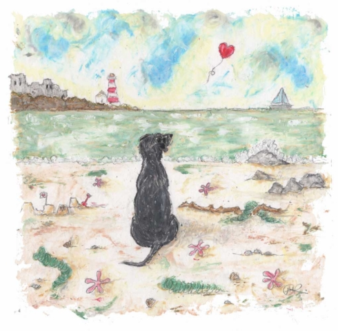 This a beautifully sentimental original painting by artist Amanda Reynolds. A gorgeous black Labrador sits solitary on a beach looking out to the horizon where a red heart balloon floats away into the distance. Titled Real Friends Hold Our Hearts Forever this painting is a gentle nod to mans best friend who has passed away and is a dog missed everyday. There is a castle and lighthouse in the distance and a small sailing boat on the sea. The beach is scattered with star fish and sea weeds and a rather large stick that the black dog has collected.