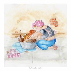 This is a gentle watercolour painting of the character Mavis. A cheery, rotund lady who is bathing her litter of mixed colour Labrador puppies in an old tin bath. There are many bubbles and a bale of pink polka dot towels hiding a little mouse. There is a Pears soap swirling around on the tiled floor. Mavis wears her apron with cherries on and has her own wet hair up in a polka dot towel twisted on her head.