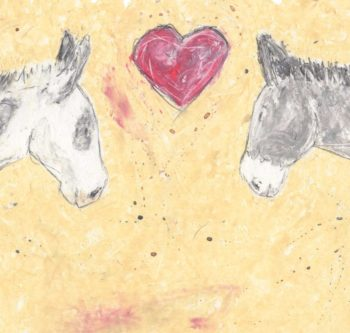 Real Friends Love Each Other is a simple painting I created specifically for a fantastic charity called The Wonkey Donkey. The painting is of two of the rescued donkeys that reside there. A white and grey and a grey donkey. I created the picture using oil pastels and added a beautiful red heart in the centre of the painting.