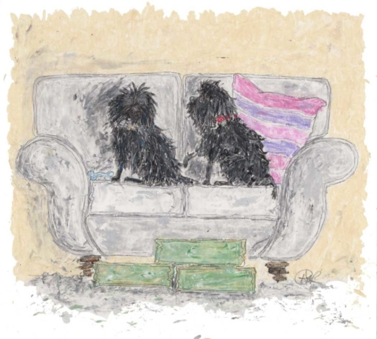 Special commission for artist Danny Abrahams of his Affenpinscher dogs for his girlfriend for Christmas. The two Affenpinschers need cushion steps making for them to get up onto their silver grey sofa. Pet Portrait created in oil pastels.