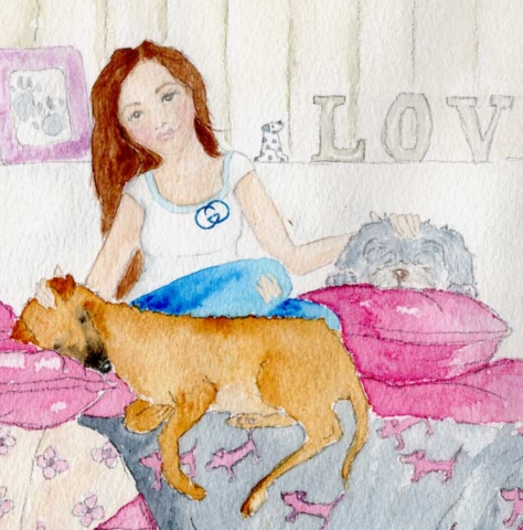 This is a beautiful watercolour pet portrait created as a Crhistmas present from a Father to his Daughter. Her two dogs are peacefully asleep with her on her bed. The setting is her bedroom with the sign LOVE on her windowsill. His daughter is a teenager and is also featured in the portrait. Her grey, pink and silver decor creates a lovely soft and feminine colour palette, perfect for the painting.