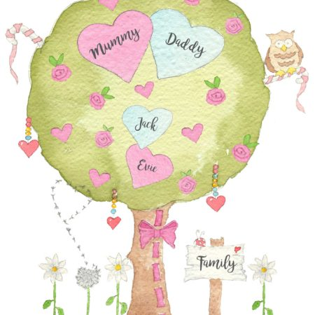 Personalised Family Tree prints are a simple round tree featuring small pink hearts and roses, two love birds and a wise old owl. A ribbon runs up the trunk and a dandilions seeds float into the air in a heart shape. Created originally in watercolours and printed onto fine art archival paper.