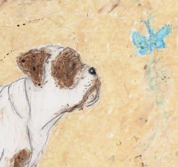 The personalised English Bull Dog print features a brown and tan Old English Bull Dog who is curiously staring at a little blue butterfly. The background is a cream oil pastel, textured background with an ink wash. The personalised English Bull Dog print features the dogs name and 3 personality traits of the dog.