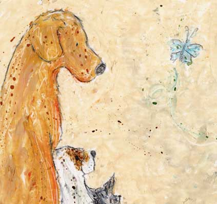 Lean On Me is a beautiful dog print featuring a Labrador, little terrier and chihuhua all leaning on each other for strength and support. A really sweet print to bring a gentle smaile to your lips. This dog print was originally created in oil pastels and has been created with a cream background, golden yellow ochre, brown and black. The little blue butterfly is featured in the print, as she is in most of Amanda Reynolds Art dog prints. A sentimental print great for dog lovers.