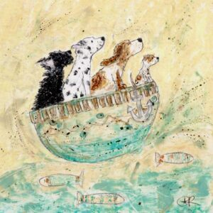 Rub A Dub Dub Four Dogs In A Tub is a beautifully soft and quirky dog print by Amanda Reynolds Art. Originally created in oil pastels by Amanda this is a picture of four dogs in a little boat on the open seas. The colours are gentle aqua blues and creams. There is a scruffy black dog, Dalmatian, Basset Hound and little Staffordshire Bull Terrier.
