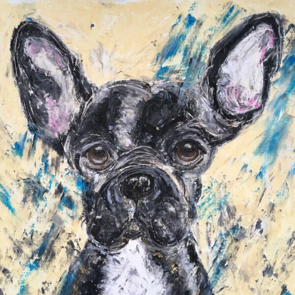 This is an oil pastel with lots of lovely, juicy texture. It is of a French Bull Dog facing front onwards in a sitting position. She is black with a white tummy. Her brown eyes stare out at the viewer.