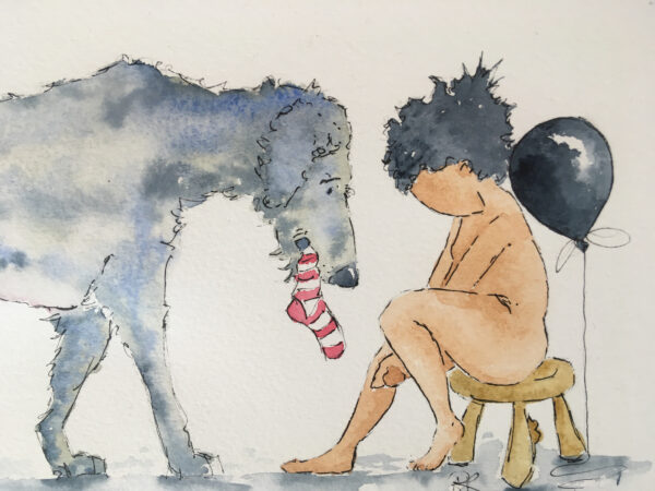 The faceless little boy is seen sat naked on his little wooden stool (made by the mouse man of Kilburn) A black balloon rests upon his shoulders to represent anxiety and depression. He clutches his hands as dog presents a red and white striped sock to help him get dressed. Dog is an Irish Wolf Hound grey and blue. Dog N Boy is a series of artwork exploring issues around anxiety and mental health. Created in watercolour with ink the simplicity of this style evokes gentle and unique art that will start a conversation about mental health.