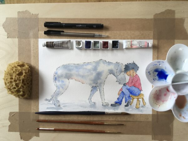 The faceless small boy sits looking dejected on his small wooden stool. (Mouse man of Kilburn stool) He wear black shoes and jeans with a red jumper. Dog gently rest his head on the boys as he stands in front of him. Dog is an Irish Wolfhound, created using soft greys and blue hues. Dog N Boy is a series of artwork exploring issues around anxiety and mental health. Created in watercolour with ink the simplicity of this style evokes gentle and unique art that will start a conversation about mental health.