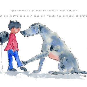 The faceless boy looks down to the ground nervously as a black balloon rests on his shoulders to depict anxiety. He wears little black shoes, jeans and a red jumper. Dog places a reassuring paw upon his little outstretched leg and comforts him. Dog is an Irish Wolf Hound created in grey and blue hues. Dog N Boy is a series of artwork exploring issues around anxiety and mental health. Created in watercolour with ink the simplicity of this style evokes gentle and unique art that will start a conversation about mental health.