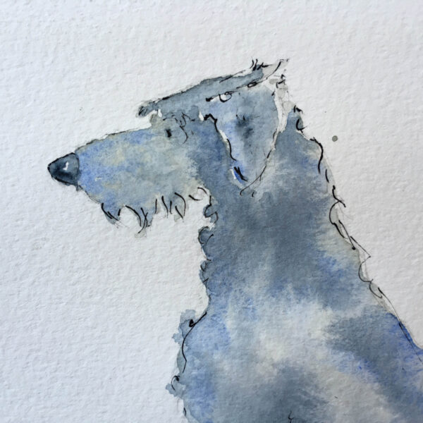 The faceless small boy anxiously pokes at a stone on the floor with his foot. He wears simple black shoes, blue jeans and a red jumper. He faces towrds the ground with uncertainty. Dog sits in front of him, a large Irish Wolf Hound reassuring the boy he will be ok. Dog has grey and blue washes of colour. Dog N Boy is a series of artwork exploring issues around anxiety and mental health. Created in watercolour with ink the simplicity of this style evokes gentle and unique art that will start a conversation about mental health.
