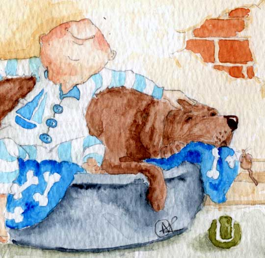 Home Sweet Home is a watercolour painting that depict a small toddler in his jump suit, ready for bed. He has plonked himself in the dogs bed and he leans back on the chocolate labrador with a backwards hug. His smile stretches from ear to ear as he loves to be close to his best friend, the dog. A tennis ball is on the tiled floor beside the dogs bed.