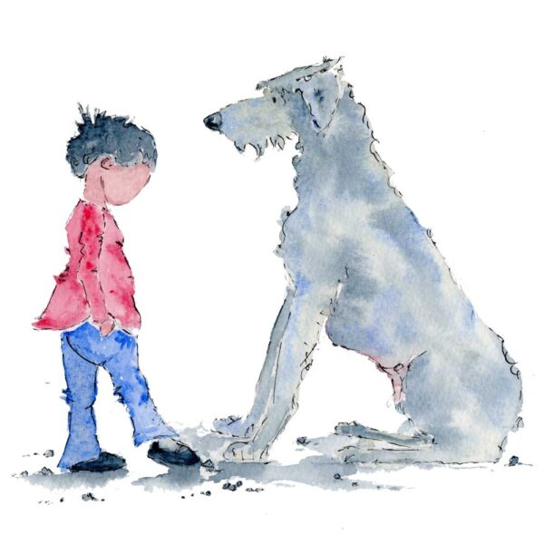 Dog N Boy blank greetings card. The faceless small boy anxiously pokes at a stone on the floor with his foot. He wears simple black shoes, blue jeans and a red jumper. He faces towrds the ground with uncertainty. Dog sits in front of him, a large Irish Wolf Hound reassuring the boy he will be ok. Dog has grey and blue washes of colour. Dog N Boy is a series of artwork exploring issues around anxiety and mental health. Created in watercolour with ink the simplicity of this style evokes gentle and unique art that will start a conversation about mental health.