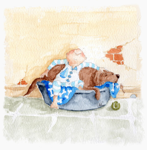 Bedtime Cuddles is a watercolour painting that depict a small toddler in his jump suit, ready for bed. He has plonked himself in the dogs bed and he leans back on the chocolate labrador with a backwards hug. His smile stretches from ear to ear as he loves to be close to his best friend, the dog. A tennis ball is on the tiled floor beside the dogs bed.