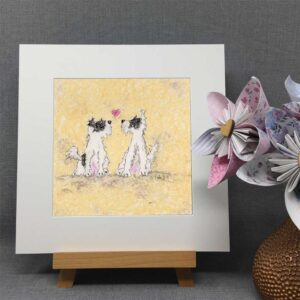 Real friends love each other is a lovely oil pastel print of two little scruffy terriers both black and white. They are facing each other with a little pink love heart in between them as they love each other. Colour palette is neaural cream with back and white dogs.