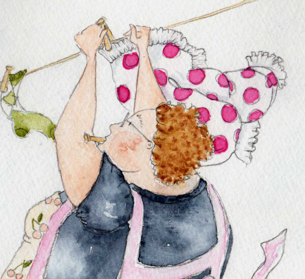 Available as a blank card or limited edition print. Real Friends Whatever The Weather is a watercolour print of a characterful, rotund lady who loves dogs. As the wind blows the dogs ears around she tries to hang the washing out. Mavis hangs out the dog toys and her polka dot bloomers. The dogs sit in the wicker washing basket and the tiny mouse is in her apron. She wears an apron with cherries on and blue jeans and grey tshirt. A peg is in her mouth as she fights against the blowing wind.