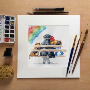 'I'm glad you're in my bubble.' is a poignant watercolour painting of a Grandfather, his border terrier and his grandchild all sat on a wooden bench having a cuddle during their daily exercise during the pandemic.