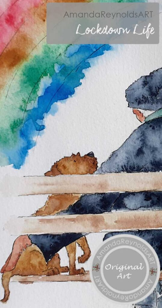 Im glad you're in my bubble is the title of this beautiful watercolour painting of a border terrier, grandad in flat cap and grandchild cuddling. They are all sitting on a wooden bench and a rainbow is in the sky to represent the NHS workers during the pandemic.