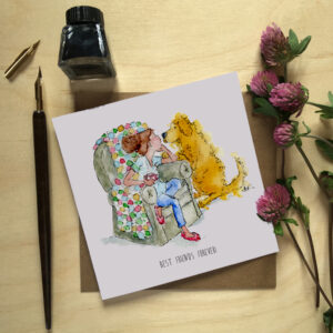 Watercolour woman in a chair with a rainbow coloured blanket and has a mug in her hand she is talking to a golden retriever in a loving way with the words best friends forever at the bottom of the picture this is a greeting card and a print