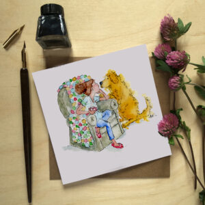 Watercolour woman in a chair with a rainbow coloured blanket and has a mug in her hand she is talking to a golden retriever in a loving way with the words best friends forever at the bottom of the picture this is a greeting card