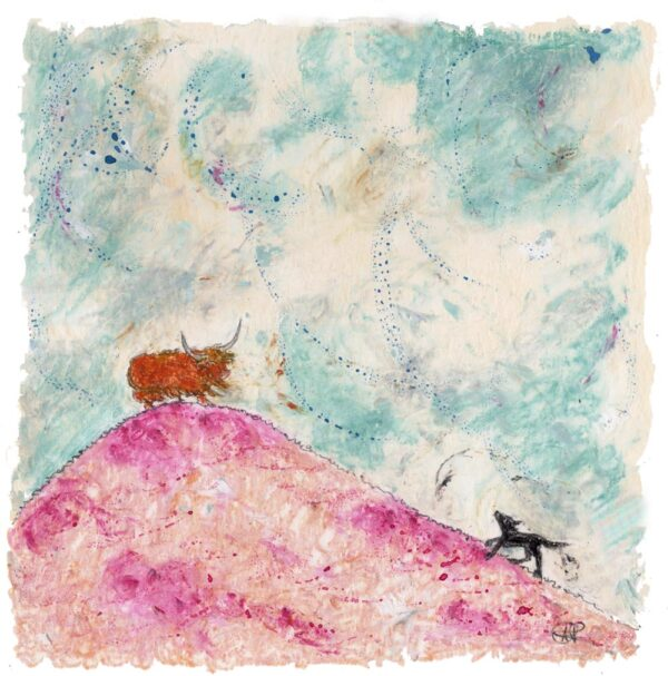 This is a picture of a black Labrador and a highland cow moorland with pink heather and a hill with a highland cow on the top of the hill and a black dog running up the hill and the sky is full of bright, vibrant colours like blue, white, pink, yellow and light browns.