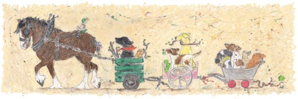 Cadjing a lift is a humorous painting featuring a shire horse pulling along a trailer full of cheeky dogs on their way home, carrying tennis balls and sticks