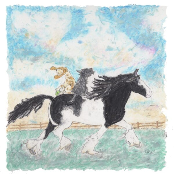 This picture is a black and white shire horse with a basset hound with a tennis ball and a black scruffy terrier both riding the horse there is a fence in the background and bluey green grass and blues, pinks, yellows and crèmes in the sky.