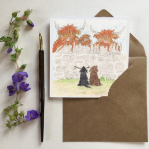 Moo Hoo Highland Cow greeting card. Featuring three highland cows looking over the dry stone wall at two cute labrador puppies.