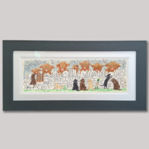 This is a painting featuring highland cattle and a group of Labrador puppies interacting over a dry stone wall in the Yorkshire countryside. A cheeky little duck wearing wellies is also featured in the picture.