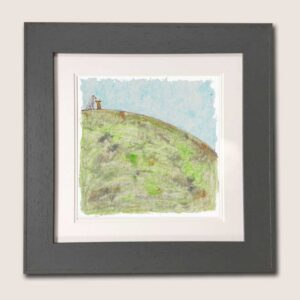 This is a picture of a whippet and a brown hare sat together on top of a big hill that is made of greens, oranges, greys, and browns it has a blue sky with patches of white scattered randomly in the sky.