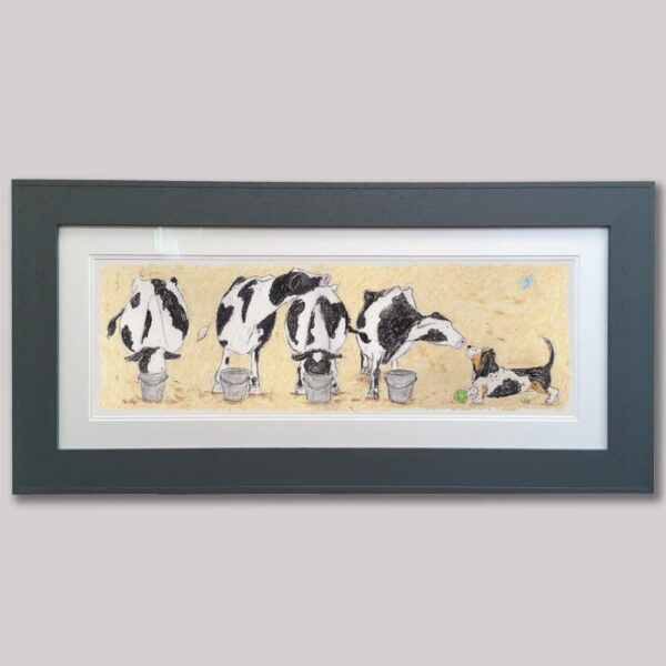 This is a painting of 4 black and white cows each with a bucket in front of them and two are drinking from them whilst the other two aren't and one of them is looking at the tri-coloured basset hound and the other is sniffing its nose while it sniffs back. There is also a little blue butterfly flying over the dog